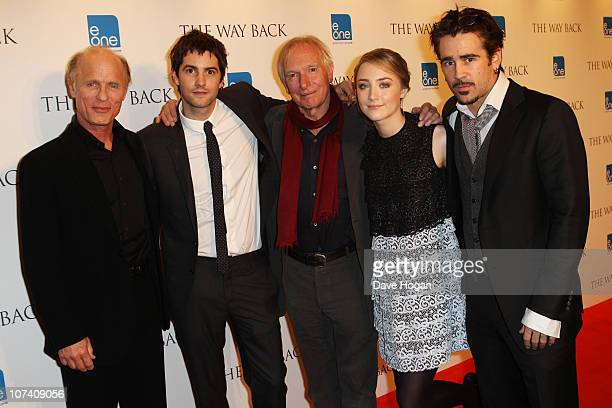 Ed Harris Jim Sturgess Peter Weir Saoirse Ronan and Colin Farrell attend a drinks reception before the UK premiere of The Way Back held at The...