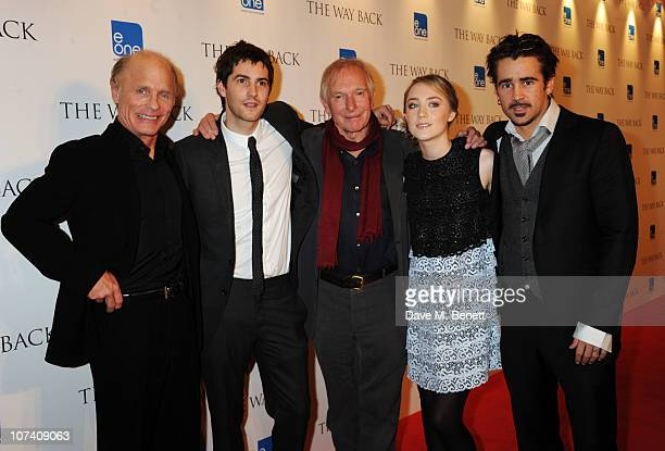 Ed Harris Jim Sturgess Peter Weir Saoirse Ronan and Colin Farrell attend the drinks reception ahead of the UK film premiere of 'The Way Back' at The...