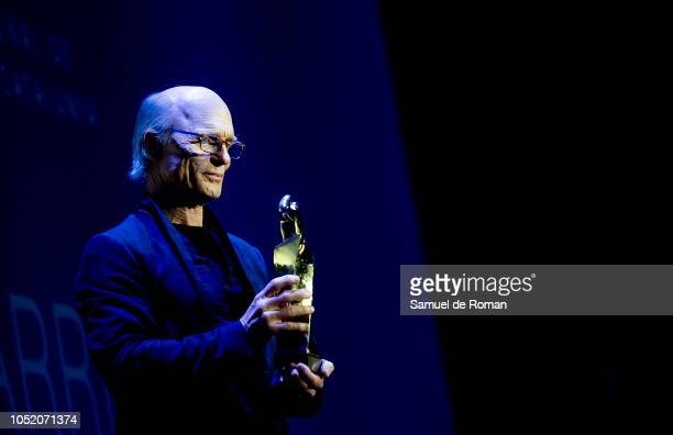 Ed Harris receives the great honorific award during the Closure Gala at Sitges Film Festival on October 13 2018 in Sitges Spain