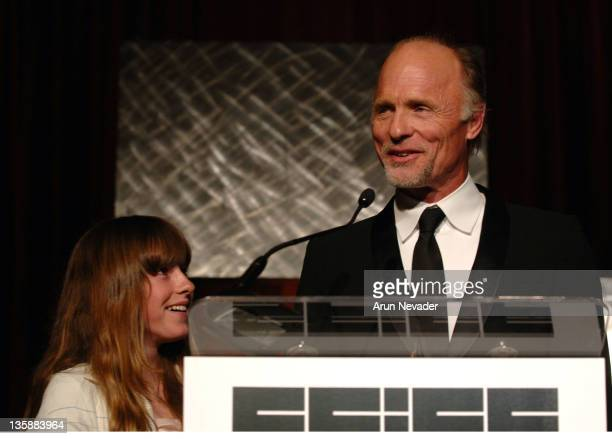 Ed Harris receives the Peter J Owens Award with daughter Lily