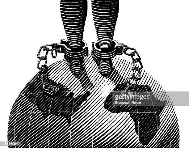 Ed Hashey BW scratchboardstyle illustration of chained feet standing on globe chains are linked to US Africa