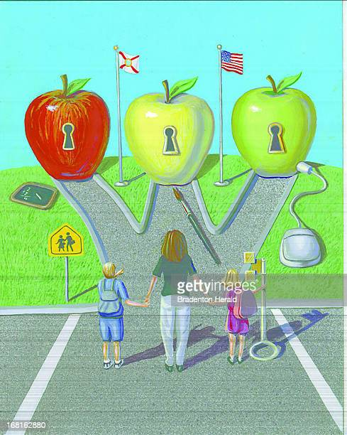 Ed Hashey color illustration of mother two children standing in parking lot looking at three choices of schools portrayed as three different apples...