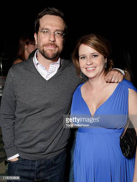 Ed Helms and Jenna Fischer arrive at the Los Angeles Premiere of A Little Help at Sony Pictures Studios on July 14 2011 in Culver City California