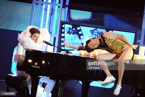 Ed Helms and Ken Jeong perform onstage at the 2010 MTV Movie Awards at Gibson Amphitheatre on June 6 2010 in Universal City California
