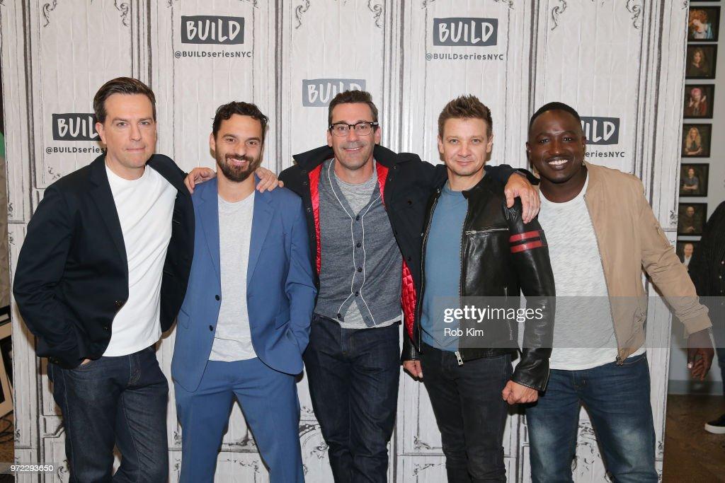 Ed Helms, Jake Johnson, Jon Hamm, Jeremy Renner and Hannibal Buress attend the Build Series at Build Studio on June 12, 2018 in New York City.