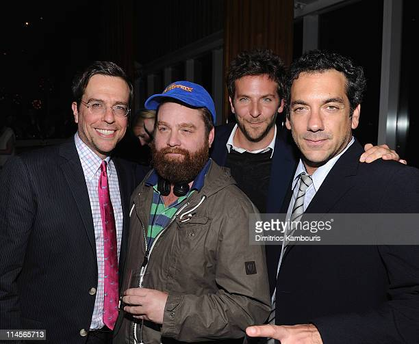 """Ed Helms, Zach Galifianakis, Bradley Cooper and director Todd Phillips attend the after party for the Cinema Society & Bing screening of """"The..."""