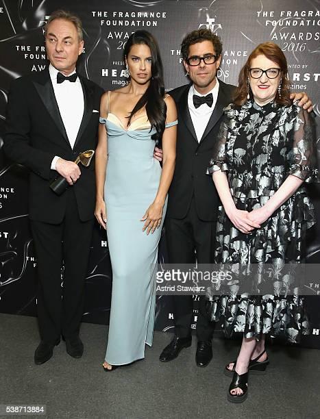 Ed Huber Adriana Lima Sebastian Suhl and Glenda Bailey pose backstage at the 2016 Fragrance Foundation Awards presented by Hearst Magazines Show on...