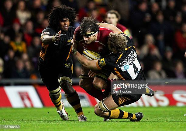 Ed Jackson of London Welsh is tackled by Joe Launchbury of Wasps during the Aviva Premiership match between London Welsh and London Wasps at the...
