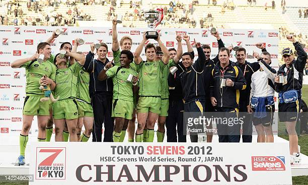 Ed Jenkins and team Australia celebrate winning the Cup Final over Samoa after the Samoa vs Australia Cup Final during day two of the Tokyo Sevens at...