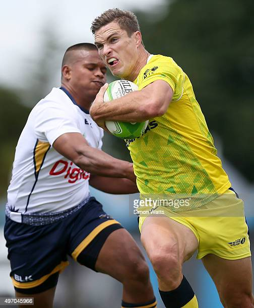 Ed Jenkins of Australia in action during the World Sevens Oceania Olympic Qualification match between Australia and Nauru on November 14 2015 in...