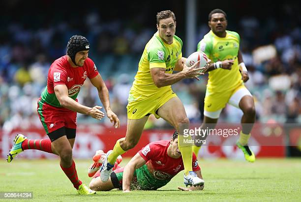 Ed Jenkins of Australia makes a break during the 20146 Sydney Sevens match between Australia and Portugal at Allianz Stadium on February 6 2016 in...