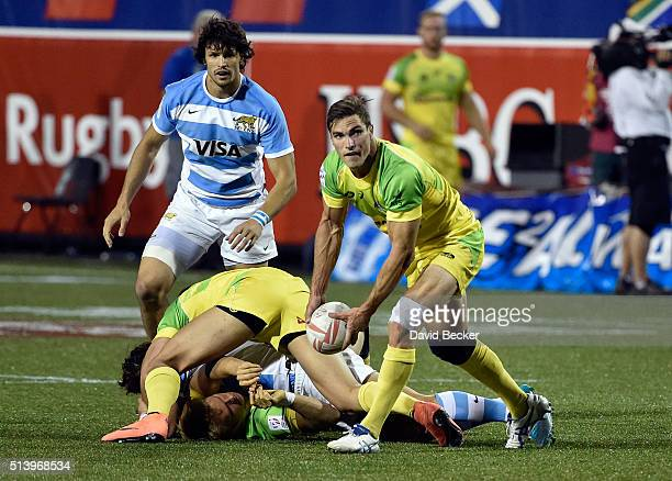 Ed Jenkins of Australia passes the ball during the USA Sevens Rugby tournament against Argentina at Sam Boyd Stadium on March 5 2016 in Las Vegas...