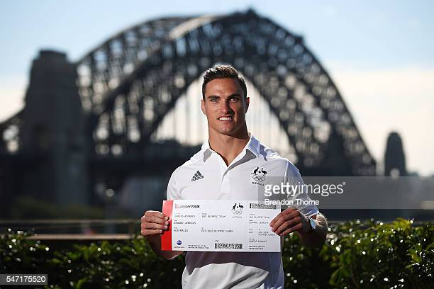 Ed Jenkins of the Australian Men's Sevens Rugby Team poses during the Australian Olympic Games rugby sevens team announcement at Museum of...