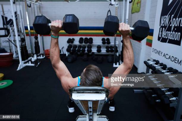Ed Jenkins of the Australian Rugby Sevens team works out in the gym during a training session on September 20 2017 in Sydney Australia