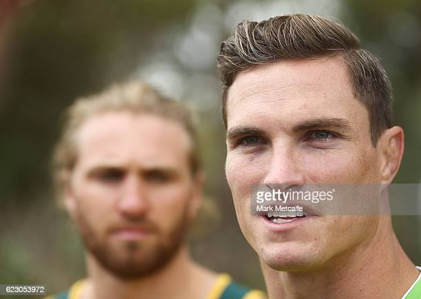 Ed Jenkins talks to the media during the Australian Sevens Rugby Jersey launch at the Sydney Academy of Sport on November 14 2016 in Sydney Australia