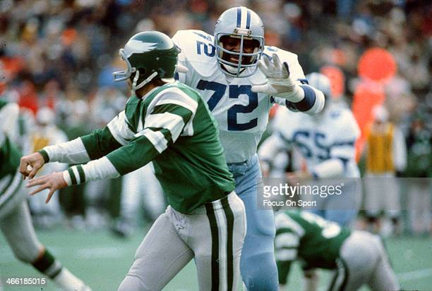 Ed Jones of the Dallas Cowboys pursues quarterback Ron Jaworski of the Philadelphia Eagles during an NFL football game at Veterans Stadium November...