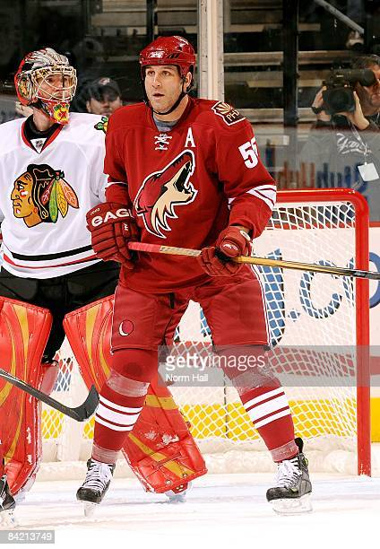 Ed Jovanovski of the Phoenix Coyotes stands in front of the net against the Chicago Blackhawks on January 6 2009 at Jobingcom Arena in Glendale...