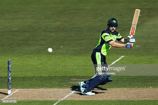 Ed Joyce of Ireland bats during the 2015 ICC Cricket World Cup match between the West Indies and Ireland at Saxton Field on February 16 2015 in...