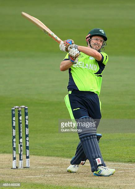 Ed Joyce of Ireland bats during the 2015 ICC Cricket World Cup match between Zimbabwe and Ireland at Bellerive Oval on March 7, 2015 in Hobart,...