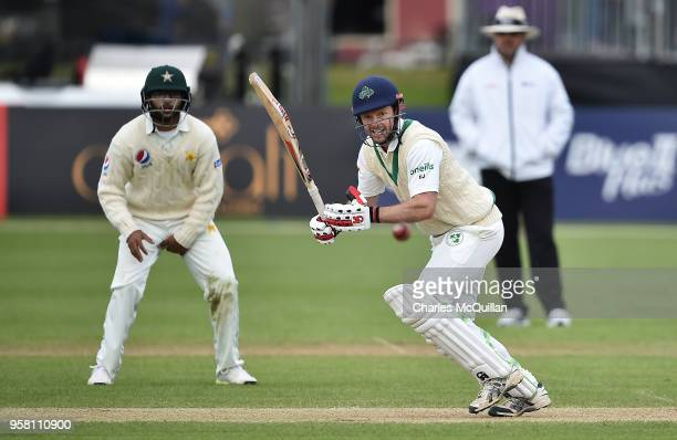 Ed Joyce of Ireland plays a delivery during the third day of the test cricket match between Ireland and Pakistan on May 13 2018 in Malahide Ireland...