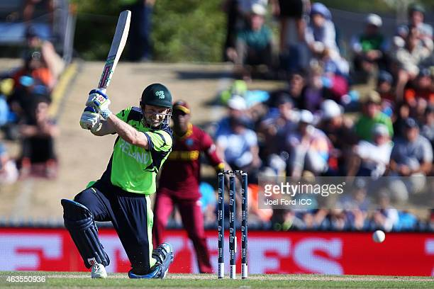 Ed Joyce of Ireland plays a shot during the 2015 ICC Cricket World Cup match between the West Indies and Ireland at Saxton Field on February 16 2015...
