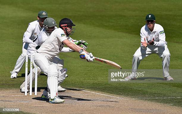 Ed Joyce of Sussex cuts for four during his innings of 82 during Day 3 of the LV County Championship match between Sussex and Worcestershire at...
