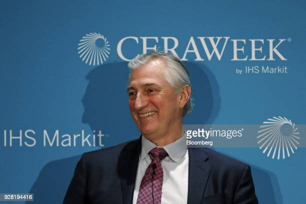 Ed Knapp chief technology officer of American Tower Corp smiles during the 2018 CERAWeek by IHS Markit conference in Houston Texas US on Tuesday...