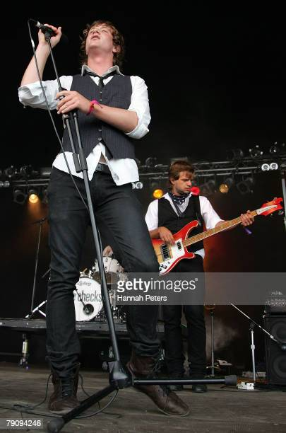 Ed Knowles of the band The Checks performs on stage at Mt Smart Stadium on January 18 2008 in Auckland New Zealand