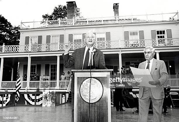 Ed Koch and Mike Croscia during Motion Picture Television Production Week at Gracie Mansion in New York City New York United States