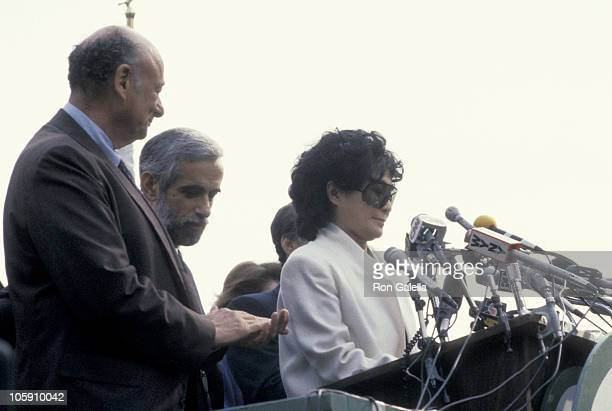 Ed Koch and Yoko Ono during Strawberry Fields Dedication at Central Park in New York City New York United States