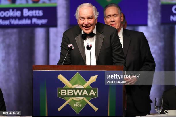 Ed Kranepool speaks on behalf of the 1969 Mets winners of the Willie Mickey the Duke Award during the 2019 Baseball Writers' Association of America...