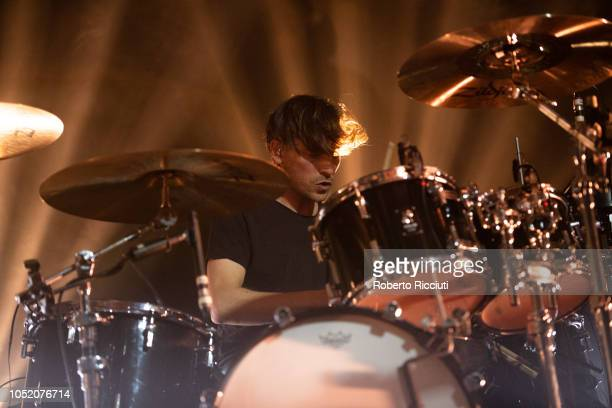 Ed Lay of Editors performs on stage at Barrowlands Ballroom on October 13 2018 in Glasgow Scotland