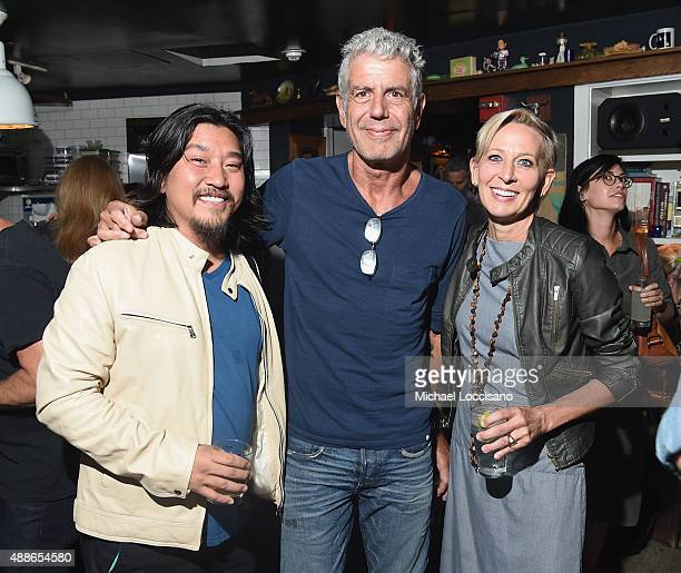 Ed Lee Anthony Bourdain and Gabrielle Hamilton attend The Mind of a Chef season 4 premiere party powered by Breville at The Spotted Pig on September...