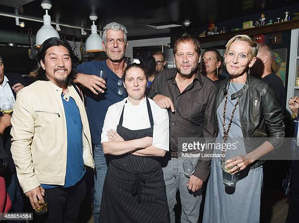 Ed Lee Anthony Bourdain April Bloomfield David Kinch and Gabrielle Hamilton attend The Mind of a Chef season 4 premiere party powered by Breville at...