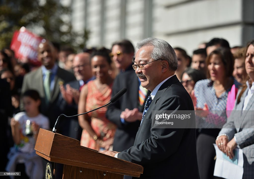 Ed Lee, mayor of San Francisco, speaks during a news conference outside City Hall after the U.S. Supreme Court same-sex marriage ruling in San Francisco, California, U.S., on Friday, June 26, 2015. Same-sex couples have a constitutional right to marry nationwide, the U.S. Supreme Court said in a historic ruling that caps the biggest civil rights transformation in a half-century. Photographer: Josh Edelson/Bloomberg via Getty Images