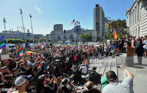 Ed Lee mayor of San Francisco speaks during a news conference outside City Hall after the US Supreme Court samesex marriage ruling in San Francisco...