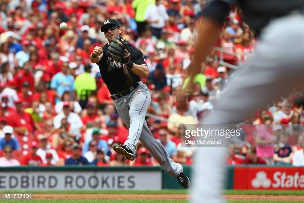 Ed Lucas of the Miami Marlins attempts to throw a runner out at first base in the second inning against the St Louis Cardinals at Busch Stadium on...