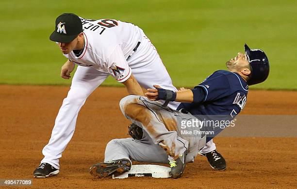 Ed Lucas of the Miami Marlins tags out David DeJesus of the Tampa Bay Rays trying to steal during a game at Marlins Park on June 3 2014 in Miami...