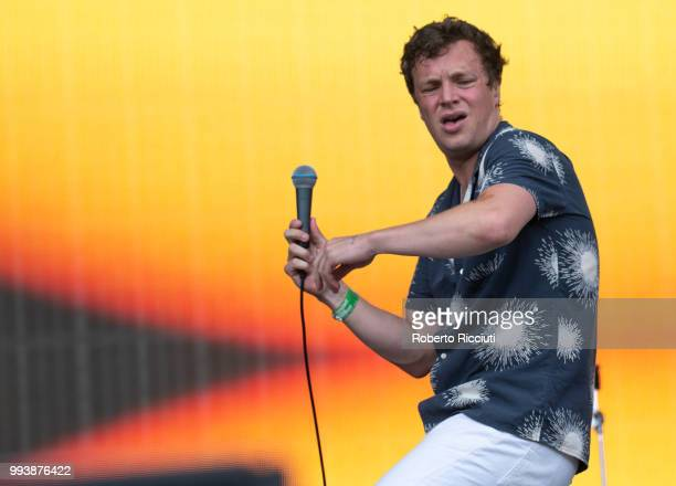 Ed Macfarlane of Friendly Fires performs on stage during TRNSMT Festival Day 5 at Glasgow Green on July 8 2018 in Glasgow Scotland