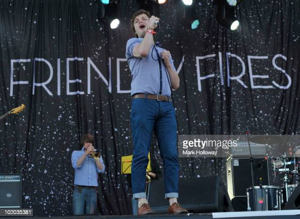 Ed Macfarlane of the Friendly Fires performs on stage on the last day of the Isle Of Wight Festival at Seaclose Park on June 13 2010 in Newport Isle...
