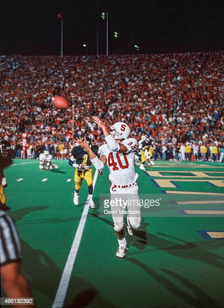 Ed McCaffrey of the Stanford Cardinal catches a touchdown pass with 12 seconds left in the 93rd Big Game between the California Golden Bears and...