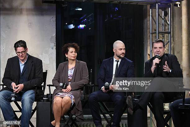 Ed McCardie Rola Bauer MarcAndre Grondin and Brendan Coyle attend AOL BUILD Presents Spotless at AOL Studios In New York on November 10 2015 in New...