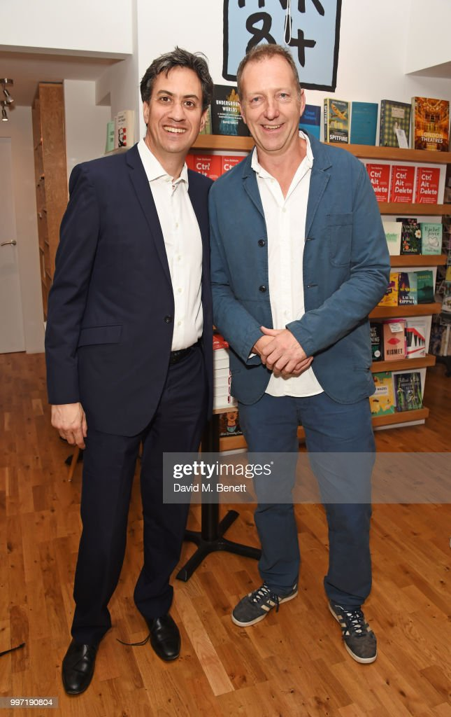 Ed Miliband (L) and Tom Baldwin attend the launch of new book 'Ctrl Alt Delete' by Tom Baldwin at Ink 84 on July 12, 2018 in London, England.