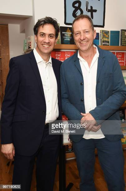 Ed Miliband and Tom Baldwin attend the launch of new book 'Ctrl Alt Delete' by Tom Baldwin at Ink 84 on July 12 2018 in London England
