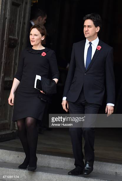 Ed Miliband and wife Justine Thornton attend a Service to Commemorate the Centenary of the Gallipoli and Anzac Campaigns at Westminster Abbey on...