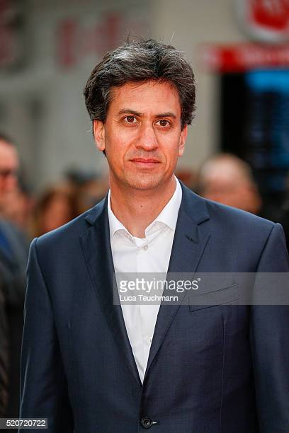 """Ed Miliband arrives for the UK film premiere Of """"Florence Foster Jenkins"""" at Odeon Leicester Square on April 12, 2016 in London, England."""