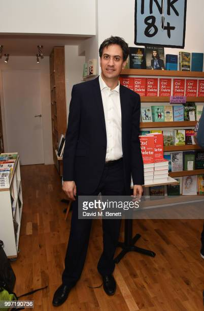 Ed Miliband attends the launch of new book 'Ctrl Alt Delete' by Tom Baldwin at Ink 84 on July 12 2018 in London England