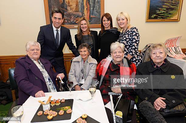 Ed Miliband Jane Bruton EditorinChief at Grazia Magazine Gloria De Piero MP and Unite union leader Jennie Formby pose with reallife Dagenham strikers...