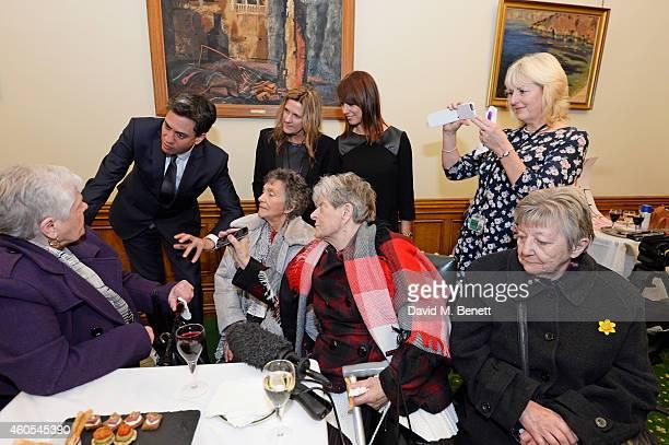 Ed Miliband Jane Bruton EditorinChief at Grazia Magazine Gloria De Piero MP and Unite union leader Jennie Formby pose with reallife Dagenham strikers...