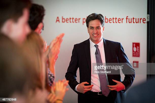 Ed Miliband leader of the Labour Party arrives at the launch of his political party's general election campaign at the ArcelorMittal Orbit at Olympic...